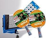 Joola Tischtennisschläger- Set: MATCH (2x) + Netz Outdoor + Bälle Training 12er