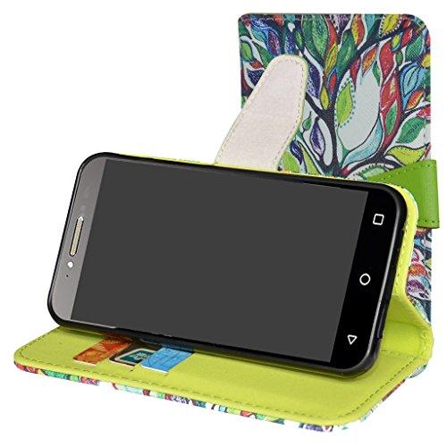 Alcatel Shine Lite Hülle,Mama Mouth Brieftasche Schutzhülle Case Hülle mit Kartenfächer und Standfunktion für Alcatel SHINE lite 5080X-2HALWE7 5080X-2DALWE7 5080X-2GALWE7 Smartphone,Love Tree