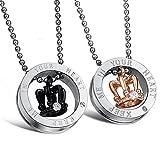 2PCS Edelstahl Krone Ringe Anhänger Paar Halskette mit Gravur Strass , Weihnachten Valentine Geschenk 55cm Kette