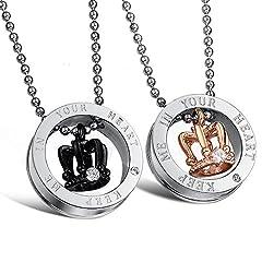 Idea Regalo - 2PCS coppia lovers collana acciaio inox pendente anello corona imperiale mosaico zircone