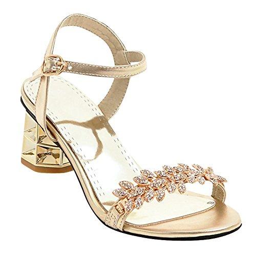 Mee Shoes Damen chunky heels Schnalle Strass Sandalen Gold