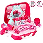 Julyfun Role Play Jewellry Kit Vanity Dressing Table Play Set for Girls Toy Set 2 in 1 Princess Bag Gift for Girls Kids 3 Years Old Glamour Girl Pretend Play