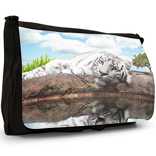 Bianco Tigri–Borsa Tracolla Tela Nera Grande Scuola/Borsa Per Laptop White Tiger Lying Next To Lake
