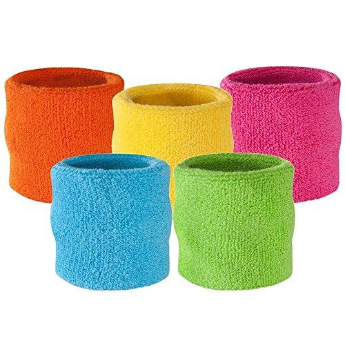 suddora Handgelenk Schweißband–Athletic Baumwolle Frottee Armband für Sport Blau Neonblau (Frottee-stirnband Blaue)