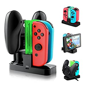 Nintendo Switch Controller Ladestation 4 in 1 Joy-Con Ladestation mit LED Anzeige
