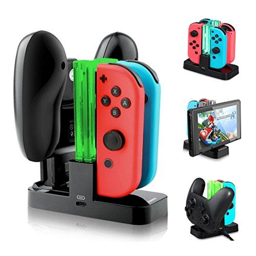 Nintendo Switch Controller Ladestation mit 4 Slots für Joy-Con und 1 Typ-C USB Port für Switch Konsole / Pro Controller / Typ-C Geräte Ladestation mit LED-Anzeige
