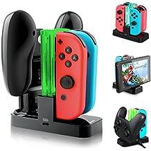 Nintendo Switch Controller Ladestation mit 4 Slots für Joy-Con und 1 Typ-C USB Port für Switch Konsole/Pro Controller/Typ-C Geräte Ladestation mit LED-Anzeige