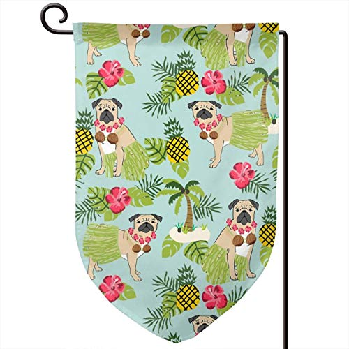 Tropical Hawaii Islands Dog BRE Polyester Garden Flag House Banner 12.5 x 18 inch, Two Sided Welcome Yard Decoration Flag for Wedding Party Home Decor ()