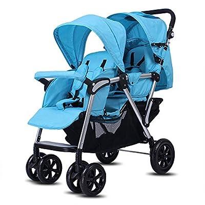 QZX Cochecito Doble Cochecito tándem Cochecito de bebé recién Nacido con Respaldo y reposapiés Ajustables Sistema de Seguridad de 5 Puntos