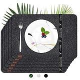 flamaroc® Platzset Filz Tischset anthrazit - Premium 6 Stück Set aus Filz, Moderne Platzdeckchen aus Filz mit Leder, waschbar, abwaschbar und hitzebeständig -...
