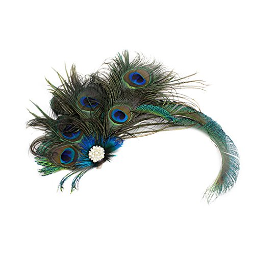 FORLADY Elegante Pfau Feder Haarspange Fascinator Haarnadel Stirnband Cocktail Party Girls Frauen