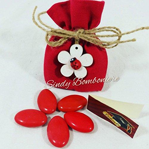 Sacchetti portaconfetti cotone rosso con fiore e coccinella (sacchetto confezionato)