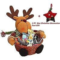 Cesta de almacenaje para Navidad de Keepwin, para caramelos o decoración, diseño de Papá Noel, muñeco de nievo, reno y elfo, bambú, Elk, 22*22CM