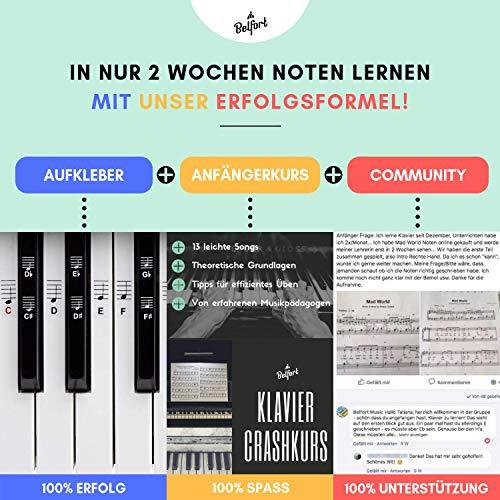 Klavier + Keyboard Noten-Aufkleber für 49 | 61 | 76 | 88 Tasten + Gratis Ebook | Premium Piano Sticker Komplettsatz für schwarze + weisse Tasten | C-D-E-F-G-A-H | einfache Anleitung auf Deutsch - 2