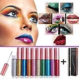 BuguCat 10 Farben Eyeliner Glitzer Set,Augen Makeup Glitter Liquid Pigment...