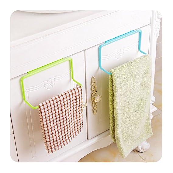 HOME CUBE Plastic Towel Rack Hanging Holder(Random Colour, Standard Size) - Set of 2