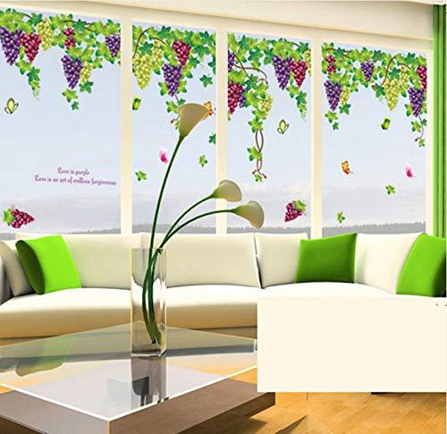 Qbbes Große Obst Traube Wandaufkleber Dekorative Romantische Tv/Schlafzimmer / Wohnzimmer Fenster Kunst Wandtattoo Kinderzimmer Dekor Wandbild 60X90 Cm