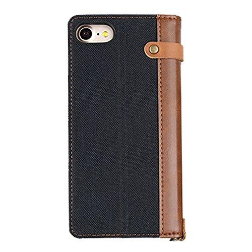 GR iPhone 7 Leinen Leder + TPU Horizontale Flip Leder Tasche mit Card Slots & Halter & Lanyard ( Color : Black ) Black