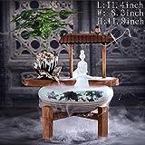 Statue Artigianato Decorazione,Fontana da Tavolo Ornamenti dell'Acqua Umidificatore di Mente Zen Decorazione casa-Pianoforte 11.4inch