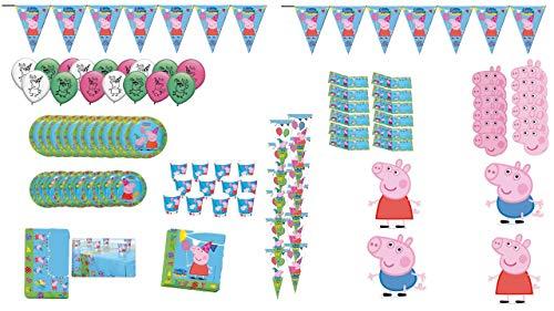 Peppa Pig 1002, Lote Fiesta cumpleaños 12 Invitados, de la Licencia (115 Piezas)
