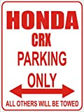 INDIGOS - Parkplatz - Parking Only- Weiß-Rot - 32x24 cm - Alu Dibond - Parking Only - Parkplatzschild - Honda crx