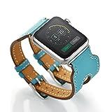 FOTOWELT für Apple-Uhr-Reihe 1/2, 2016 Neue Art-38mm doppelte Wölbungs-Luxuxstulpe-echtes Leder-Wiedereinbau-Armband-Uhr-Band für Apple-Uhr-Reihe 1/2 iWatch-Knickente