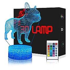 Idea Regalo - Lampada Bulldog 3D con Controllo Remoto, QiLiTd Lampade Notturna LED 5 Luminosità + Muliticolore Regolabile RGB Luce Notturna da Comodino con Controllo Tattile per Regalo di Compleanno e Natale