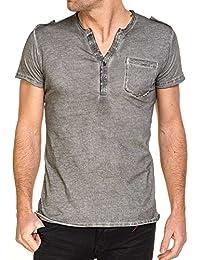 Deeluxe 74 - Tee-shirt gris teinté col boutons et poche