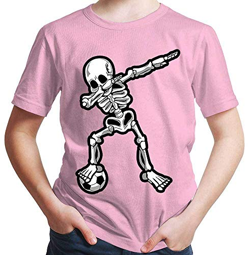 HARIZ  Jungen T-Shirt Dab Skelett mit Fussball Dab Dabbing Dance Halloween Plus Geschenkkarten Rosa 98/2-3 Jahre