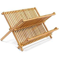 Egouttoir à Vaisselles Bambou Support Vaisselle Evier Égouttoir Vaisselle Bois Range Assiettes Égouttoir Bambou Pliant avec 2 Niveaux de Rangement pour la Cuisine - Dimensions: 42 x 38,5 x 4,5 cm.