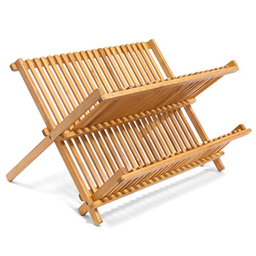 Jonas Escurreplatos Plegable Cocina – Escurridor Platos y Vasos de Madera de Bambú con 2 Niveles – Secaplatos y Escurrevasos - Dimensiones: 42 x 38,5 x 4,5 cm.