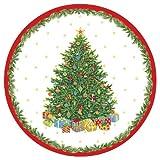 Caspari – Juego de platos llanos (8 unidades), diseño de árbol de Navidad, color beige