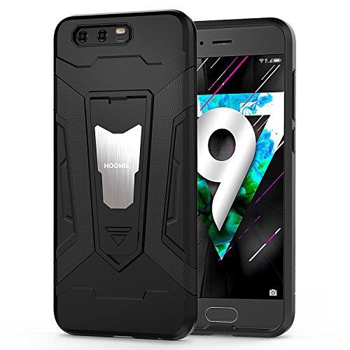 HOOMIL Coque Honor 9,Antichoc Armor Silicone Bumper Case avec Support Etui Housse pour Huawei Honor 9 - Noir (H3234)