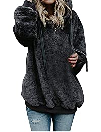 Reaso Sweat Shirt Hooded Sports Femme Automne Tops à Manches Longues Dames Hiver Rayé Sweat-Shirt Coton Sweats à Capuche Blouson Col Rond Casual Pull Elegant Chemisier Streetwear