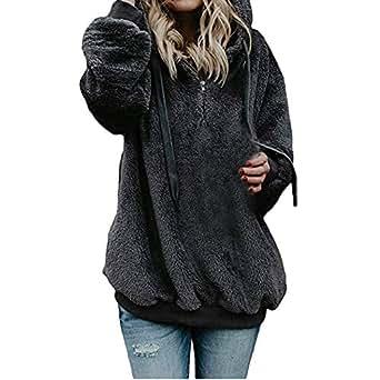 d9b7fdf176e Sixcup Women Fluffy Fuzzy Soft Hoodies Ladies Casual Long Sleeve Sweatshirt  Tops Plain Baggy Warm Pullover