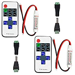 2pcs LED Streifen Controller (mit Pairing-Funktion) LED Strip Dimmer Kontroller DC 5V-24V 12A Empfänger RF Wireless Remote LED Stripe Fernbedienung Regler für 2 polig SMD 5050 3528 2835 5630 LED Band