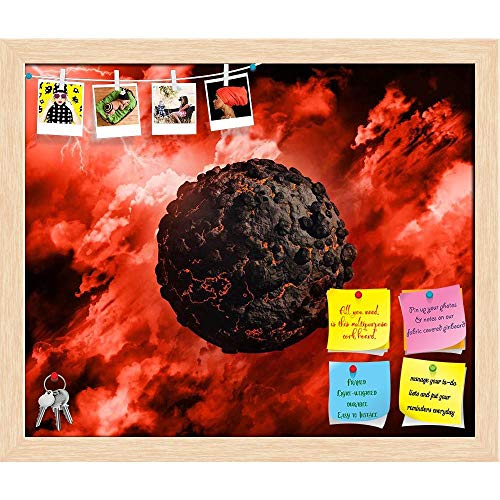 Artzfolio Volcanic Globe With In A Stormy Sky Printed Bulletin Board Notice Pin Board | Natural Brown Frame 23.9 X 20Inch