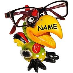 """Brillenhalter - """" lustiger Vogel - Hahn """" - incl. Name - stabil aus Kunstharz - universal Größe - für Kinder & Erwachsene / Brillenhalterung - lustiger Brillenständer - für Sonnenbrille Lesebrille - Brillenablage - Tier lustig - Deko Figur - Vögel exotisch / Karibik - Urlaub - Enten"""