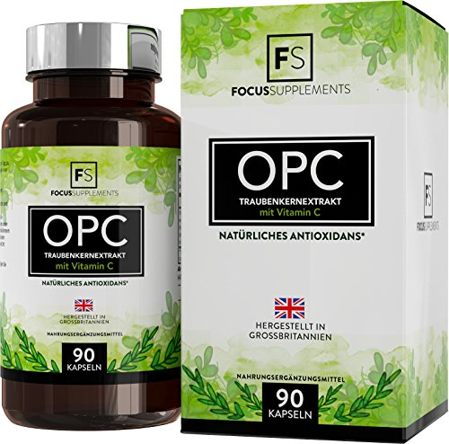 OPC Pure Grape Seed Extract - 600mg from Focus Supplements | 80 mg of vitamin C per serving | POWERFUL ANTIOXIDANT SUPPORT | Support to the heart and Immune system | 70 guaranteed% OPC