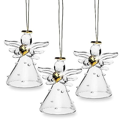 SIKORA BS242 Décorations de noël en verre soufflé - Anges avec robe à pois dorés - Set de 3