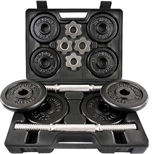 ScSPORTS® 20 kg Hantelset mit Koffer 2x Kurzhanteln 30 mm und 8 Hantelscheiben (4x 2,5 kg und 4x 1,25 kg), Kurzhantelset Gewichte Guss