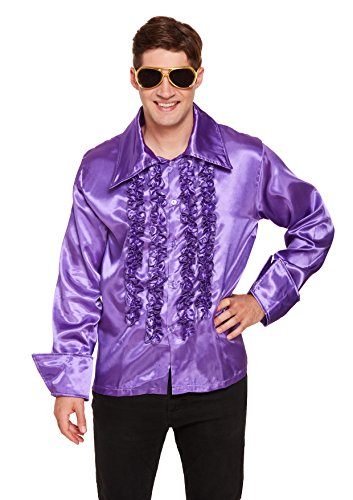 Best Fancy Kleid Herren 1970er Disco Shirt - Violett (One Size)