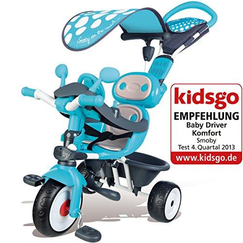 Preisvergleich Produktbild Baby Driver, Comfort, mitwachsendes Dreirad, azulfarben - Smoby Kinder Dreirad 3in1 Trike Klein Kinder Fahrzeug Rad Gurt Mitwachsend Azul