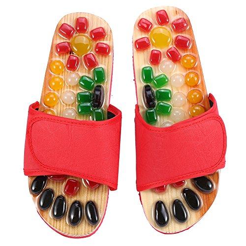 Rosvola Massage-Pantoffeln, Fußentspannungs-Gesundheitsschuhe(24.5cm-rot)