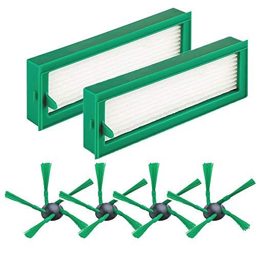 6 Stück Zubehör/Ersatzteile für Vorwerk Kobold VR200, Austauschsets für Vorwerk Kobold VR200 Staubsaugerwechsel,4 Seitenbürsten+ 2 Filter für Vorwerk