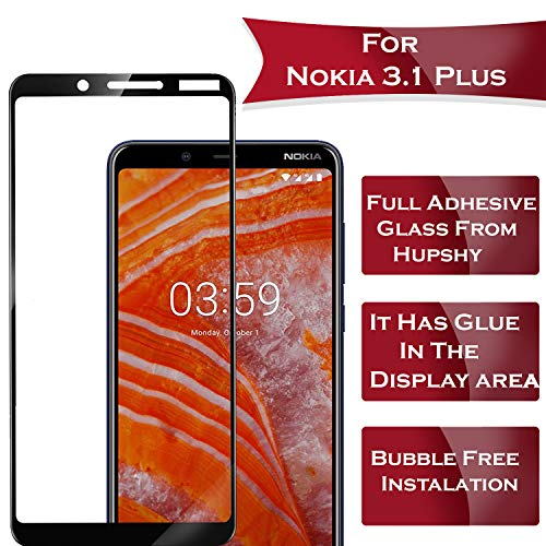 Hupshy Edge to Edge Curved Full Tempered Glass Screen Guard for Nokia 3.1 Plus (Black)