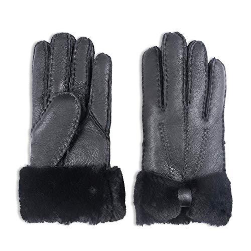 YISEVEN Damen Shearling Winterhandschuhe mit Warm Gefüttert Winter Lammfell Leder Autofahrer Handschuhe, Schwarz M (Mit Handschuhe Leder Fell Gefüttert Damen)