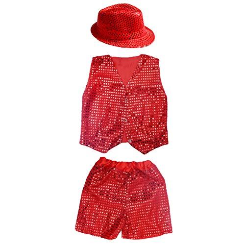 Unisex Kind Pailletten Hip Hop Kostüm Street Dance Kleidung Weste Shorts Hut Set (Rot Pailletten Hut)