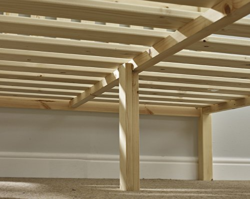 Double Pine Bed 4ft 6 (140cm) Studio Double Bed Wooden Frame with extra wide base slats and centre rail - Includes 15cm sprung mattress
