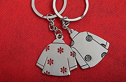 1 Paar Freunde Freundschaft gift Best Friend Schlüsselanhänger mit Ring Kleider in rot und schwarz, exotisch traditionell,Geschenkidee -